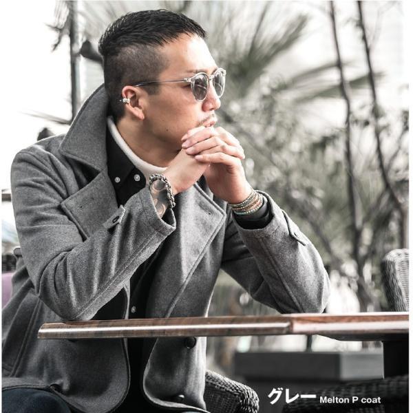 ピーコート Pコート メンズ コート ジャケット アウター ウール ウールコート 黒 ブラック 学生 かっこいい 美シルエット|evergreen92|10