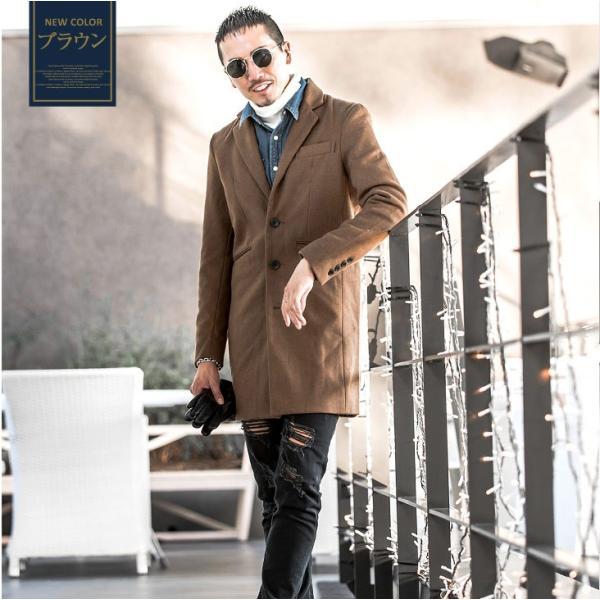 チェスターコート メンズ コート ジャケット ウール ウールコート ロングコート ステンカラーコート グレンチェック 黒 ブラック|evergreen92|12