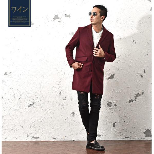 チェスターコート メンズ コート ジャケット ウール ウールコート ロングコート ステンカラーコート グレンチェック 黒 ブラック|evergreen92|14