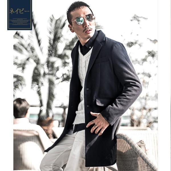 チェスターコート メンズ コート ジャケット ウール ウールコート ロングコート ステンカラーコート グレンチェック 黒 ブラック|evergreen92|16