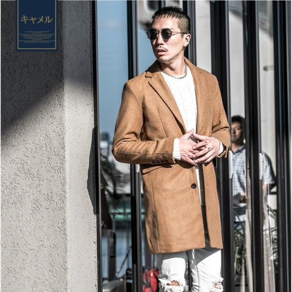 チェスターコート メンズ コート ジャケット ウール ウールコート ロングコート ステンカラーコート グレンチェック 黒 ブラック|evergreen92|18