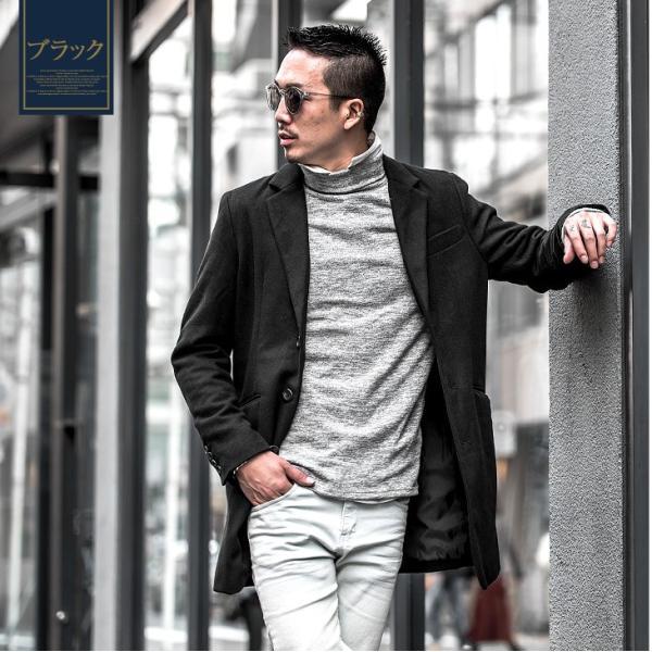 チェスターコート メンズ コート ジャケット ウール ウールコート ロングコート ステンカラーコート グレンチェック 黒 ブラック|evergreen92|06