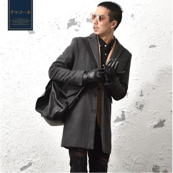 チェスターコート メンズ コート ジャケット ウール ウールコート ロングコート ステンカラーコート グレンチェック 黒 ブラック|evergreen92|08