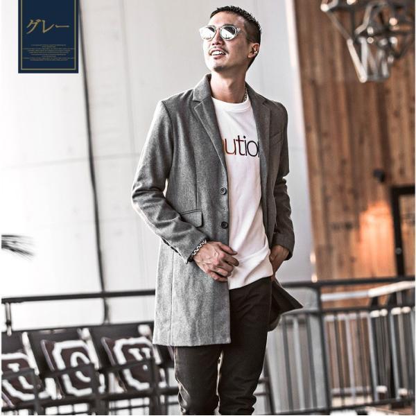チェスターコート メンズ コート ジャケット ウール ウールコート ロングコート ステンカラーコート グレンチェック 黒 ブラック|evergreen92|10