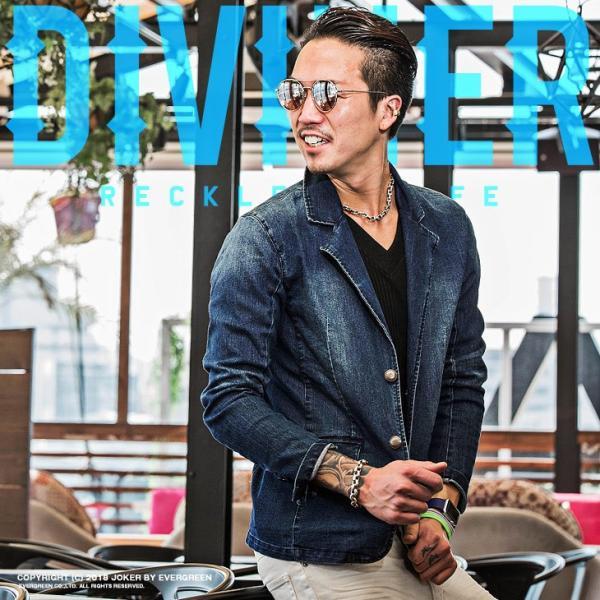 【在庫限り】 テーラードジャケット メンズ ジャケット テーラード ジャケット カットデニム デニム DIVINER ディバイナー|evergreen92
