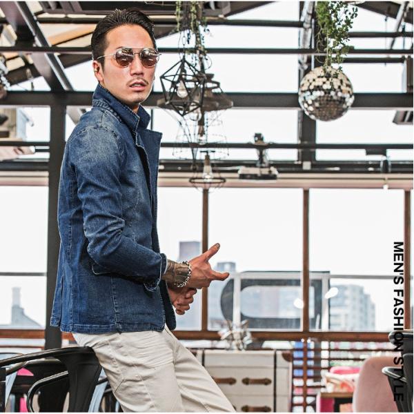 【在庫限り】 テーラードジャケット メンズ ジャケット テーラード ジャケット カットデニム デニム DIVINER ディバイナー|evergreen92|05