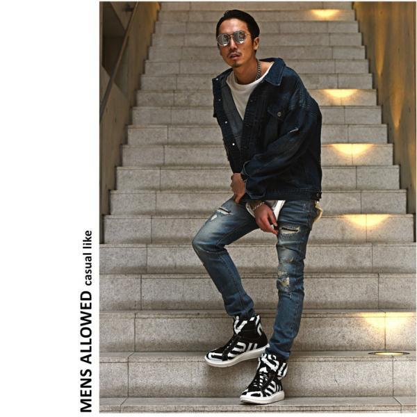 【在庫限り】 スニーカー メンズ シューズ ハイカット ミドルカット ロゴ 靴 オシャレ ベルクロ マジックテープ レッド|evergreen92|12