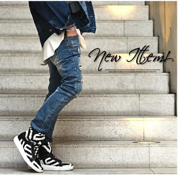 【在庫限り】 スニーカー メンズ シューズ ハイカット ミドルカット ロゴ 靴 オシャレ ベルクロ マジックテープ レッド|evergreen92|13