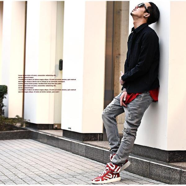 【在庫限り】 スニーカー メンズ シューズ ハイカット ミドルカット ロゴ 靴 オシャレ ベルクロ マジックテープ レッド|evergreen92|09