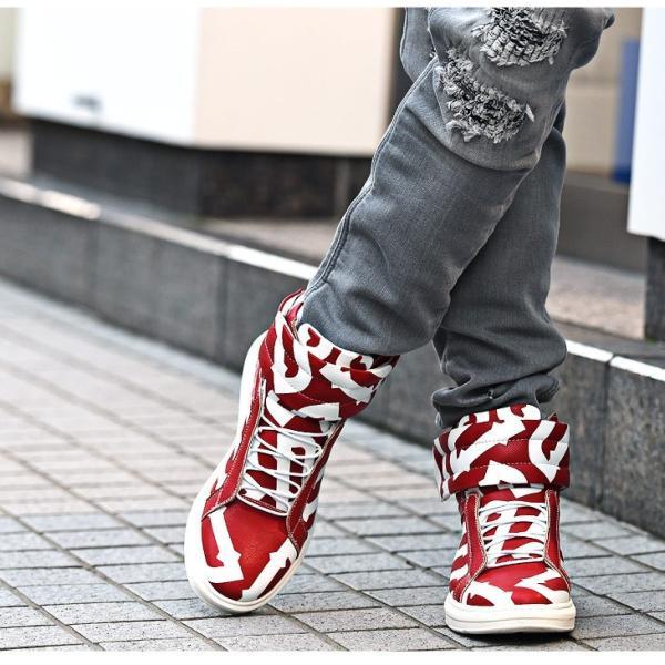 【在庫限り】 スニーカー メンズ シューズ ハイカット ミドルカット ロゴ 靴 オシャレ ベルクロ マジックテープ レッド|evergreen92|10