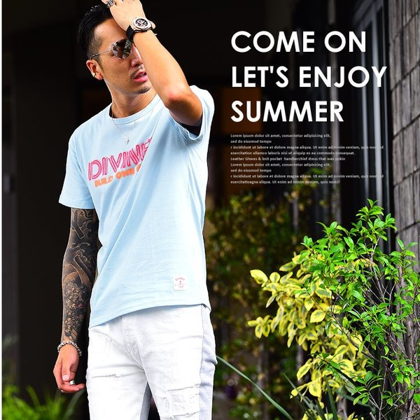 Tシャツ メンズ 半袖Tシャツ カジュアル 半袖 メンズファッション ブルー ピンク ホワイト 白 お兄系 オラオラ系 BITTER|evergreen92|02