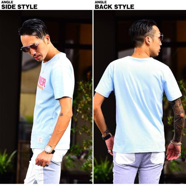Tシャツ メンズ 半袖Tシャツ カジュアル 半袖 メンズファッション ブルー ピンク ホワイト 白 お兄系 オラオラ系 BITTER|evergreen92|12