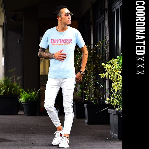 Tシャツ メンズ 半袖Tシャツ カジュアル 半袖 メンズファッション ブルー ピンク ホワイト 白 お兄系 オラオラ系 BITTER|evergreen92|13