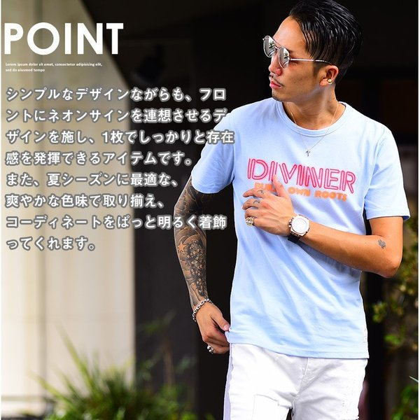 Tシャツ メンズ 半袖Tシャツ カジュアル 半袖 メンズファッション ブルー ピンク ホワイト 白 お兄系 オラオラ系 BITTER|evergreen92|03