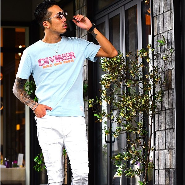 Tシャツ メンズ 半袖Tシャツ カジュアル 半袖 メンズファッション ブルー ピンク ホワイト 白 お兄系 オラオラ系 BITTER|evergreen92|06