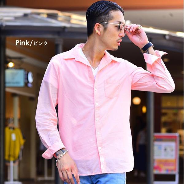 シャツ メンズ 長袖シャツシャツ カラーシャツ 長袖 綿麻 コットンシャツ 無地 Yシャツ ワイシャツ XL メンズファッション|evergreen92|11