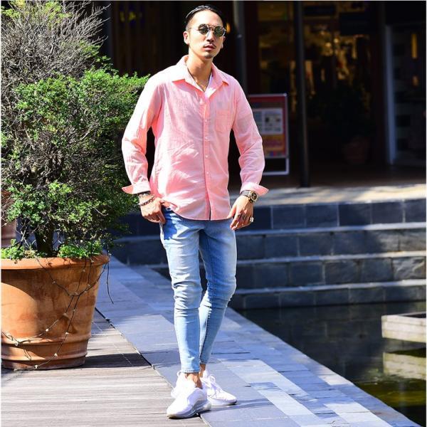 シャツ メンズ 長袖シャツシャツ カラーシャツ 長袖 綿麻 コットンシャツ 無地 Yシャツ ワイシャツ XL メンズファッション|evergreen92|12