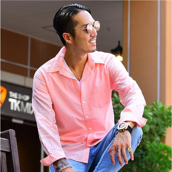 シャツ メンズ 長袖シャツシャツ カラーシャツ 長袖 綿麻 コットンシャツ 無地 Yシャツ ワイシャツ XL メンズファッション|evergreen92|13
