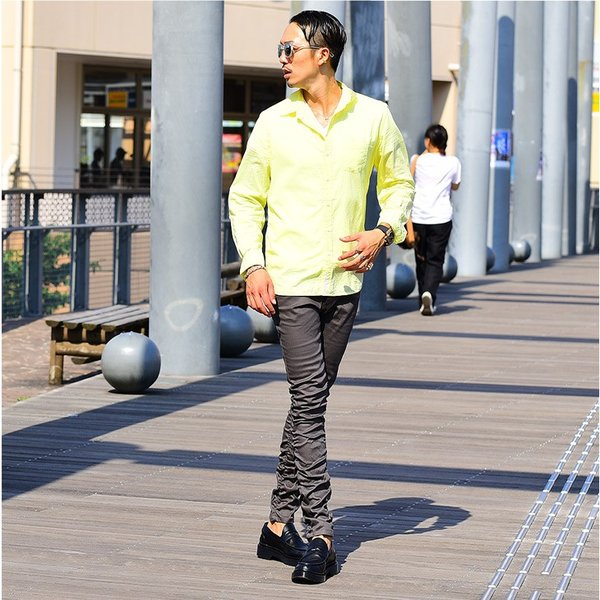 シャツ メンズ 長袖シャツシャツ カラーシャツ 長袖 綿麻 コットンシャツ 無地 Yシャツ ワイシャツ XL メンズファッション|evergreen92|15