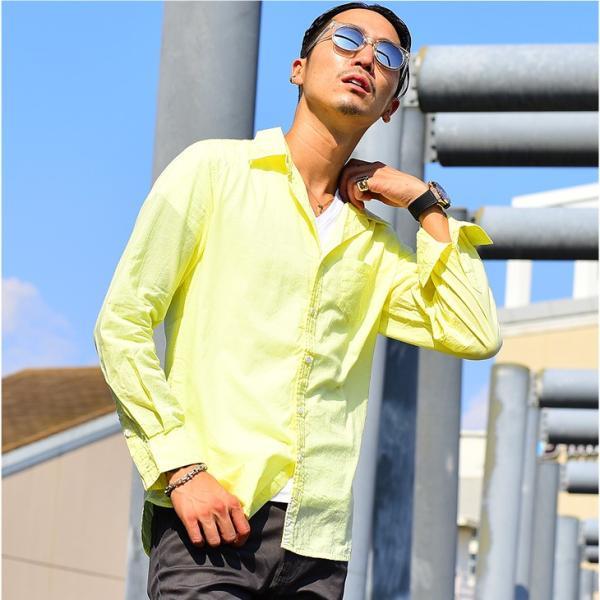 シャツ メンズ 長袖シャツシャツ カラーシャツ 長袖 綿麻 コットンシャツ 無地 Yシャツ ワイシャツ XL メンズファッション|evergreen92|16