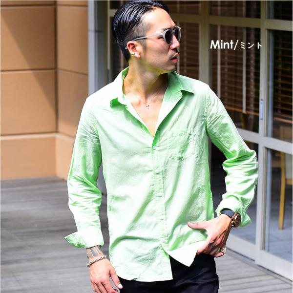 シャツ メンズ 長袖シャツシャツ カラーシャツ 長袖 綿麻 コットンシャツ 無地 Yシャツ ワイシャツ XL メンズファッション|evergreen92|17