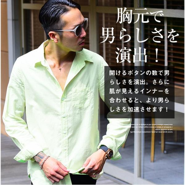 シャツ メンズ 長袖シャツシャツ カラーシャツ 長袖 綿麻 コットンシャツ 無地 Yシャツ ワイシャツ XL メンズファッション|evergreen92|04