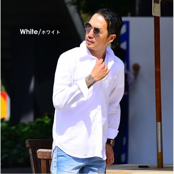 シャツ メンズ 長袖シャツシャツ カラーシャツ 長袖 綿麻 コットンシャツ 無地 Yシャツ ワイシャツ XL メンズファッション|evergreen92|05
