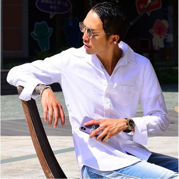 シャツ メンズ 長袖シャツシャツ カラーシャツ 長袖 綿麻 コットンシャツ 無地 Yシャツ ワイシャツ XL メンズファッション|evergreen92|07