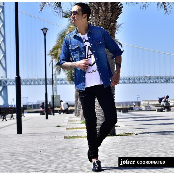 デニムシャツ メンズ デニム シャツ ウエスタンシャツ 長袖シャツ 七分袖 7分袖 無地 長袖 ホワイト ブラック 黒 evergreen92 16
