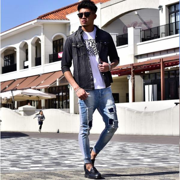 デニムシャツ メンズ デニム シャツ ウエスタンシャツ 長袖シャツ 七分袖 7分袖 無地 長袖 ホワイト ブラック 黒 evergreen92 06