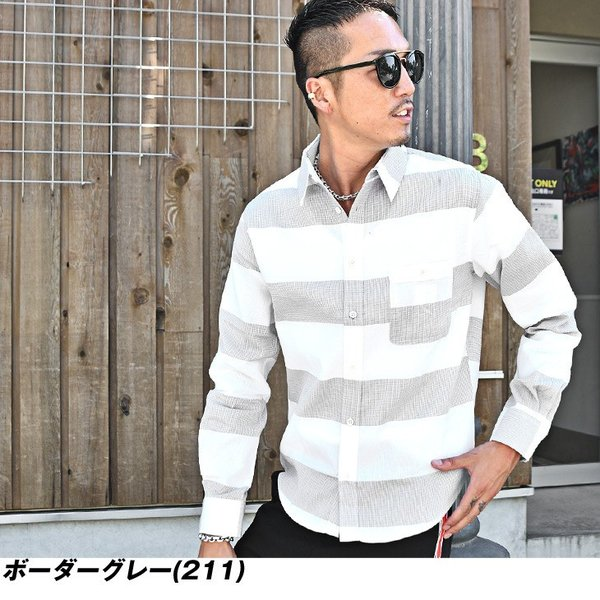 シャツ メンズ チェックシャツ 綿麻 ボーダー ネルシャツ 長袖シャツ ネイビー 長袖シャツ チェック柄 フランネル 送料無料|evergreen92|13