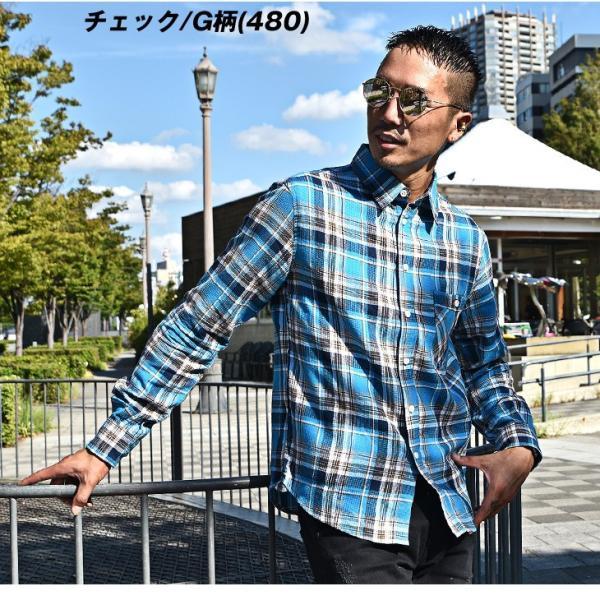 シャツ メンズ チェックシャツ 綿麻 ボーダー ネルシャツ 長袖シャツ ネイビー 長袖シャツ チェック柄 フランネル 送料無料|evergreen92|18
