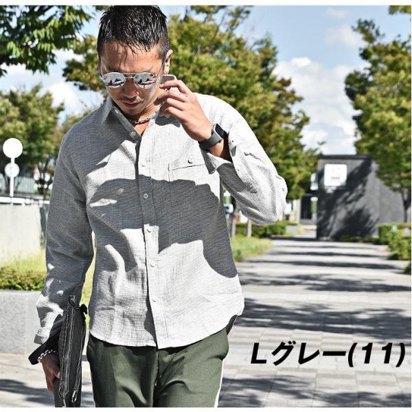 シャツ メンズ チェックシャツ 綿麻 ボーダー ネルシャツ 長袖シャツ ネイビー 長袖シャツ チェック柄 フランネル 送料無料|evergreen92|07