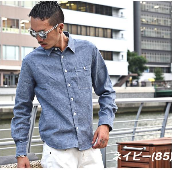 シャツ メンズ チェックシャツ 綿麻 ボーダー ネルシャツ 長袖シャツ ネイビー 長袖シャツ チェック柄 フランネル 送料無料|evergreen92|09