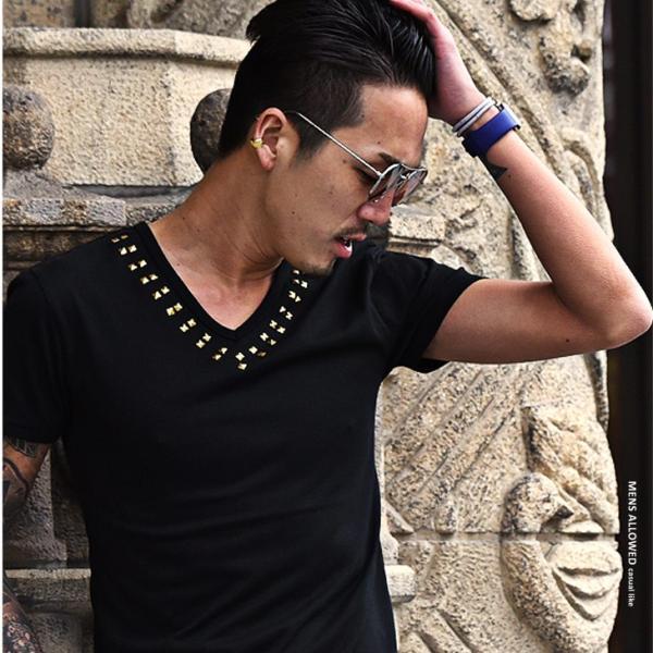 Tシャツ メンズ 半袖Tシャツ 半袖 スタッズ Vネック ブラック 黒 ホワイト 白 お兄系 サーフ系 オラオラ系|evergreen92|11