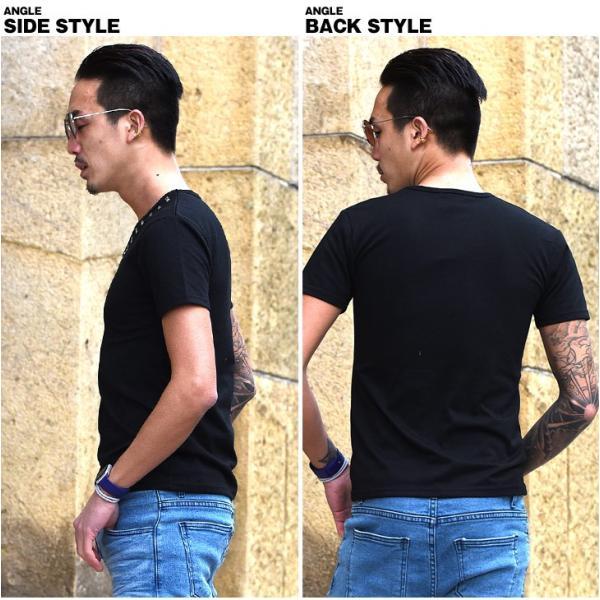 Tシャツ メンズ 半袖Tシャツ 半袖 スタッズ Vネック ブラック 黒 ホワイト 白 お兄系 サーフ系 オラオラ系|evergreen92|12