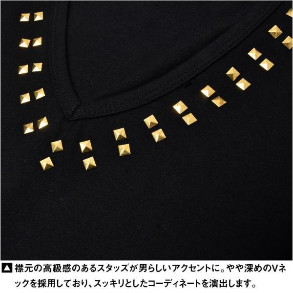 Tシャツ メンズ 半袖Tシャツ 半袖 スタッズ Vネック ブラック 黒 ホワイト 白 お兄系 サーフ系 オラオラ系|evergreen92|15