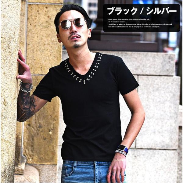 Tシャツ メンズ 半袖Tシャツ 半袖 スタッズ Vネック ブラック 黒 ホワイト 白 お兄系 サーフ系 オラオラ系|evergreen92|03