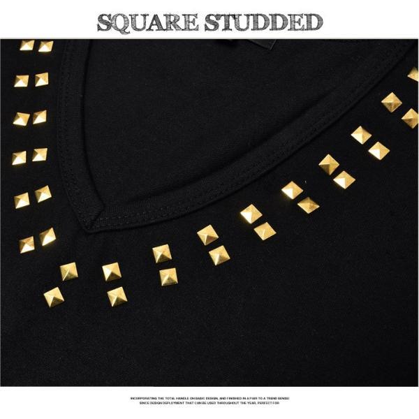 Tシャツ メンズ 半袖Tシャツ 半袖 スタッズ Vネック ブラック 黒 ホワイト 白 お兄系 サーフ系 オラオラ系|evergreen92|05
