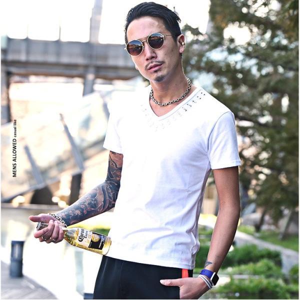 Tシャツ メンズ 半袖Tシャツ 半袖 スタッズ Vネック ブラック 黒 ホワイト 白 お兄系 サーフ系 オラオラ系|evergreen92|06