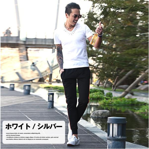 Tシャツ メンズ 半袖Tシャツ 半袖 スタッズ Vネック ブラック 黒 ホワイト 白 お兄系 サーフ系 オラオラ系|evergreen92|07