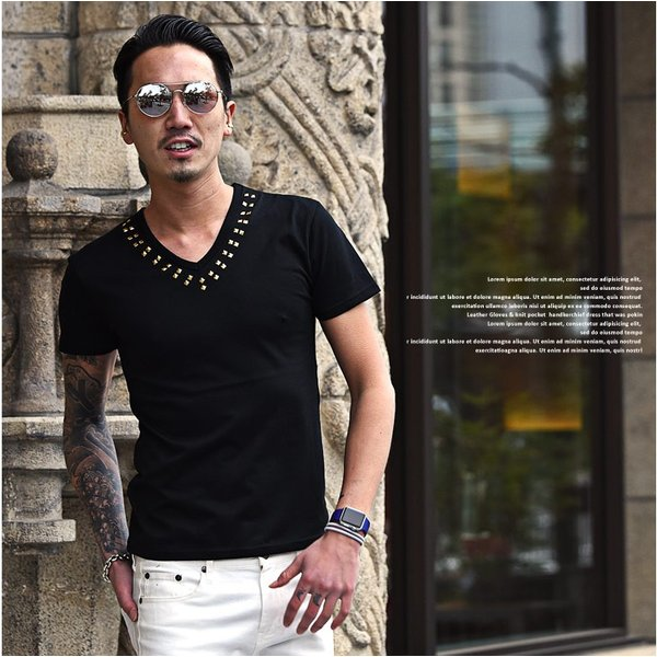 Tシャツ メンズ 半袖Tシャツ 半袖 スタッズ Vネック ブラック 黒 ホワイト 白 お兄系 サーフ系 オラオラ系|evergreen92|09