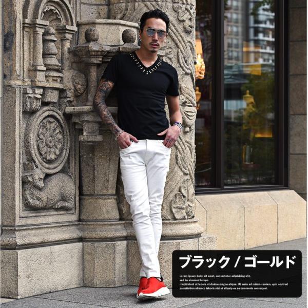 Tシャツ メンズ 半袖Tシャツ 半袖 スタッズ Vネック ブラック 黒 ホワイト 白 お兄系 サーフ系 オラオラ系|evergreen92|10