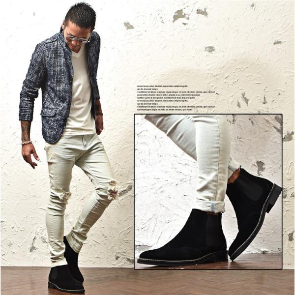 ブーツ メンズ サイドゴアブーツ チェルシーブーツ ワークブーツ メダリオンデザイン 靴 シューズ ブラック ブラウン 黒 お兄系|evergreen92|12