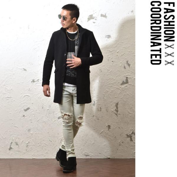 コート メンズ ジャケット テーラードジャケット スーツ イタリアンカラー コート 細身 タイト 無地 襟 グレー ブラック|evergreen92|12