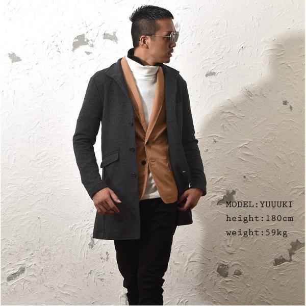 コート メンズ ジャケット テーラードジャケット スーツ イタリアンカラー コート 細身 タイト 無地 襟 グレー ブラック|evergreen92|07