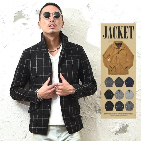 ジャケット メンズ テーラードジャケット スーツ イタリアンカラー ジャケット アウター 細身 タイト 無地 襟 グレンチェック|evergreen92