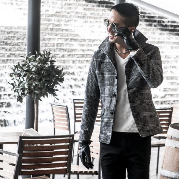ジャケット メンズ テーラードジャケット スーツ イタリアンカラー ジャケット アウター 細身 タイト 無地 襟 グレンチェック|evergreen92|17