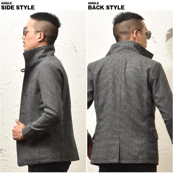 ジャケット メンズ テーラードジャケット スーツ イタリアンカラー ジャケット アウター 細身 タイト 無地 襟 グレンチェック|evergreen92|21