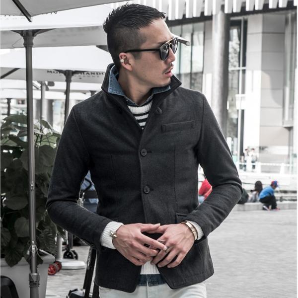 ジャケット メンズ テーラードジャケット スーツ イタリアンカラー ジャケット アウター 細身 タイト 無地 襟 グレンチェック|evergreen92|09